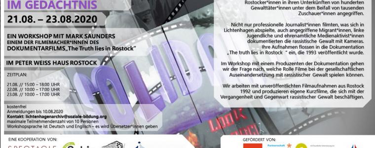 """Medienworkshop """"Rostock-Lichtenhagen 1992 und die Medien"""""""